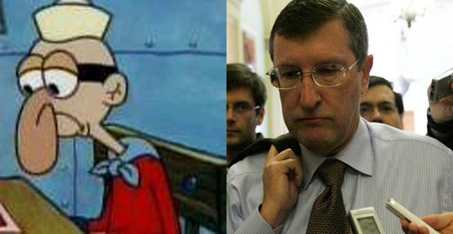 "Spongebob's ""Barnacle Boy"" (left) and Obama health care critic Sen. Kent Conrad (right)"
